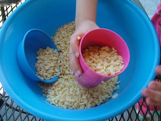 Preschool activity for lesson on Joseph in Egypt filling bags with grain. Full Hands and Ready Feet:: The Forgiving Prince (day 11)