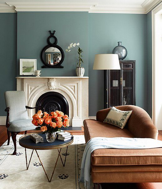 Blue Paint Colors — One Kings Lane - coastal blue painted living room with beautiful fireplace and chaise lounge