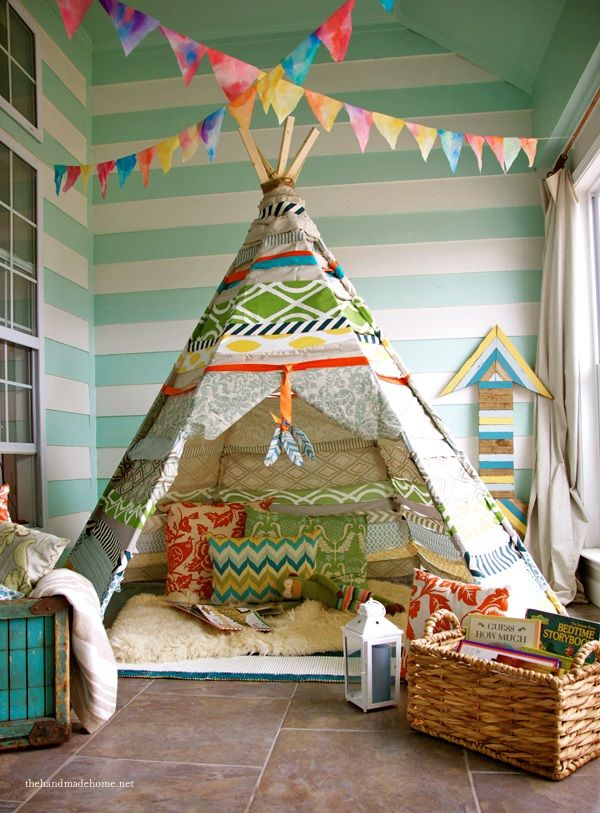 "Cute idea for a play room! Set your imagination free with this great ""story-time"" set-up."