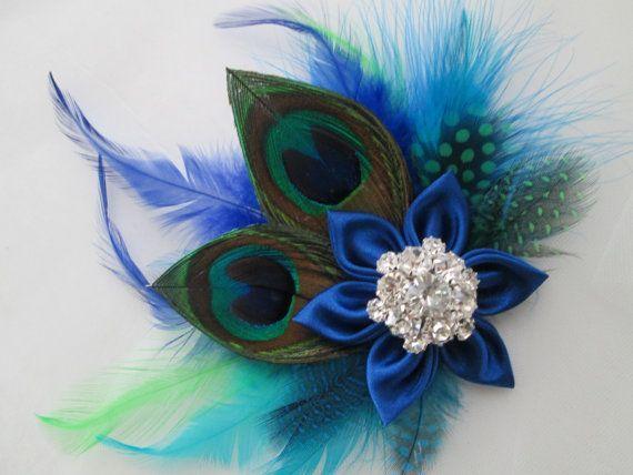 Peacock Hochzeit Fascinator Konigsblaue Hochzeit Haar Blume Vogelschleier Blau Und Fascinator Braut Haarblumen