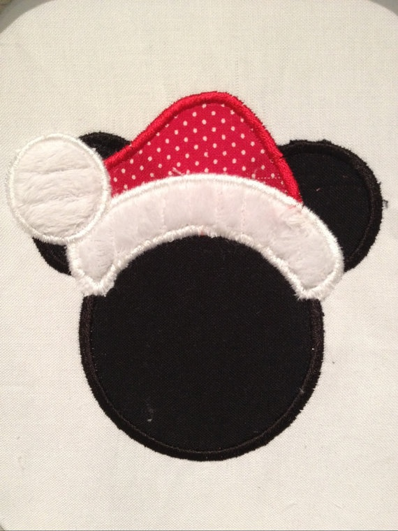 Mickey Mouse Santa Applique Embroidery Design by StitchedPINK, $2.50  add a bow and make it Minnie Mouse Santa!  LIKE Isabela's Ribbons on Facebook for finished proudcut embroidery designs or purchase this design for your personal use from StitchedPINK on ETSY.