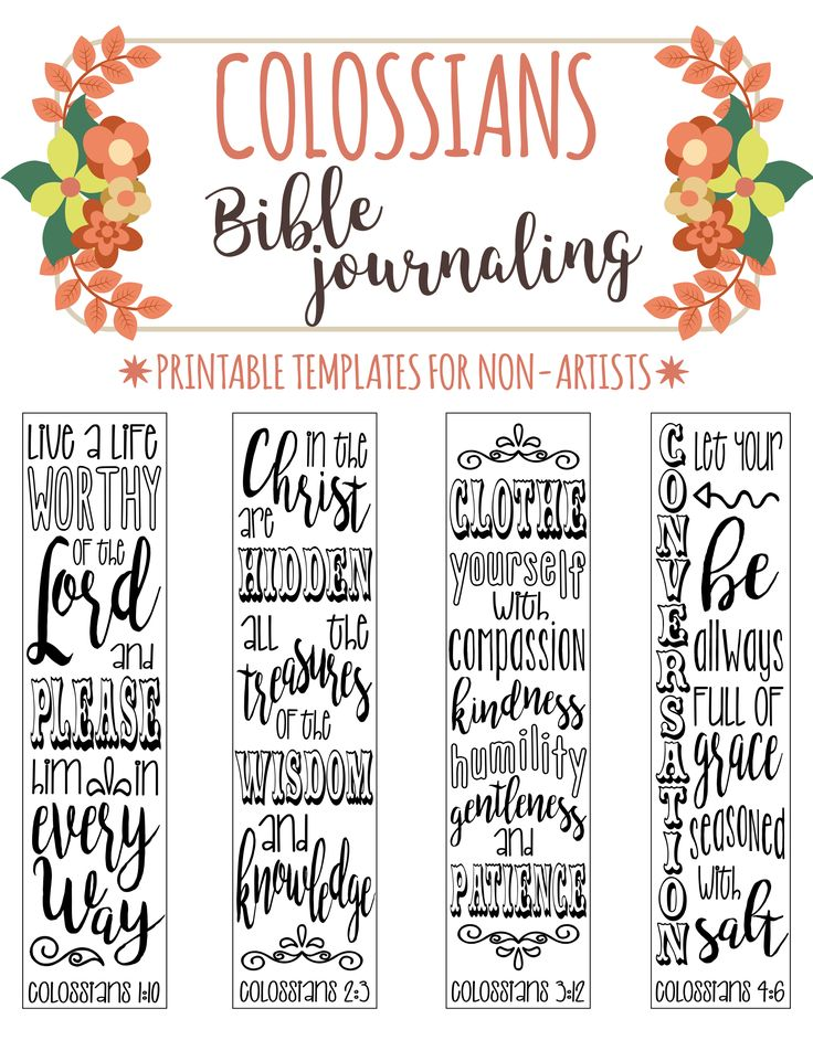 4 bible journaling printable templates illustrated christian faith bookmarks bible verse prayer journal art colossians