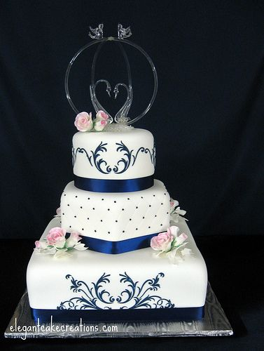 navy blue and gold cakes | ... design round hexagon and square cakes with stenciling and quilting gum