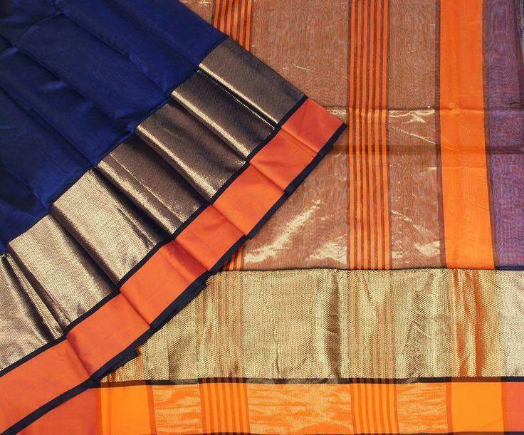 Maheshwari Royal Blue Saree with Orange and Golden Border Fabric: Silk Cotton Length of Saree: 6.5 meter Wash Care: Dry Clean