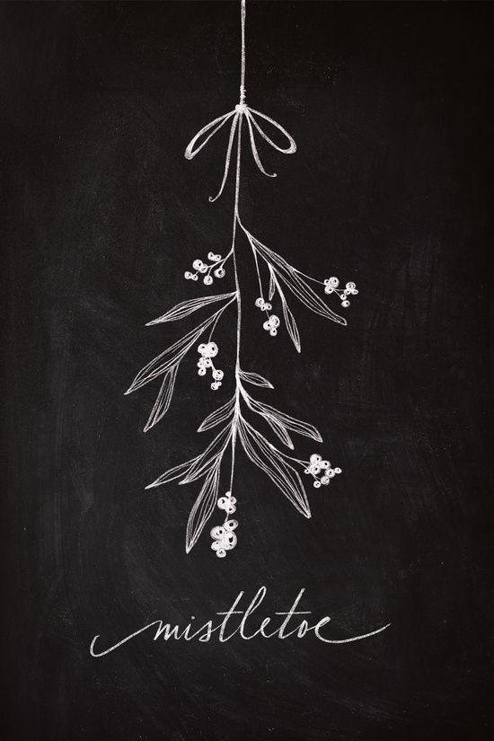 Chalkboard Art - Mistletoe Art Print- chalkboard style art. Time to find the chalk!!