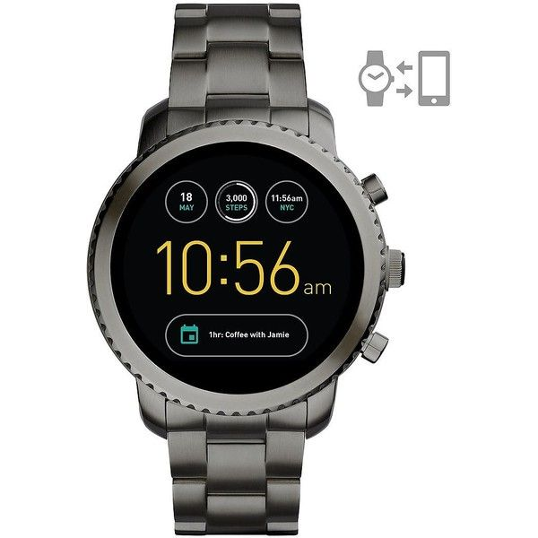 Fossil Q Explorist Stainless Steel Bracelet Touchscreen Smartwatch (665 BRL) ❤ liked on Polyvore featuring jewelry, gunmetal, fossil jewellery, stainless steel jewelry, fossil jewelry and stainless steel jewellery