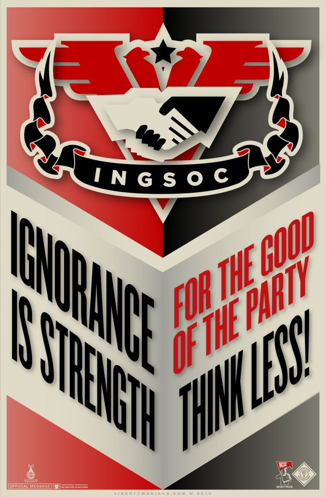 Ingsoc Ignorance Is Strength Poster Ingsoc Political Posters