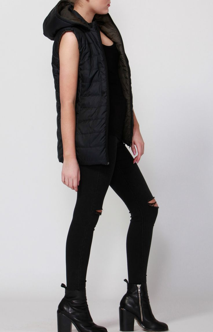 Betty Basics - Zayn Puffer Vest Olive & Black
