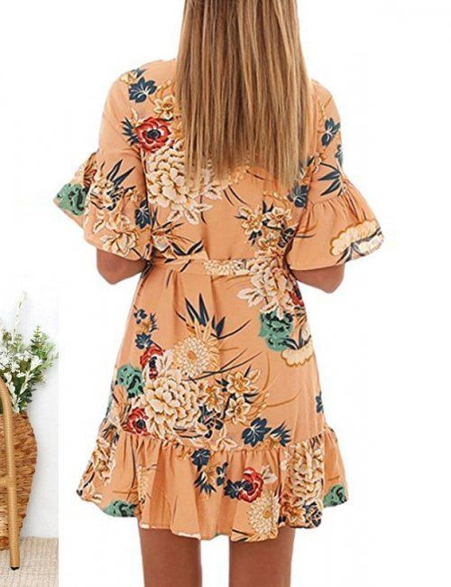 82ff1270e5d7 Womens Floral Flare Tie Up Dress Get this in store today ...