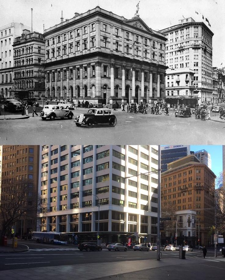 The corner of Gresham, Bridge and Pitt Streets, Sydney. From the original Royal Exchange in the 1940's to 'the Royal Exchange Building' office tower in 2017. [State Library of NSW > Phil Harvey. By Phil Harvey]