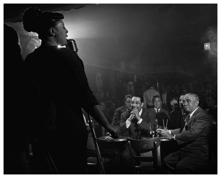"Ella Fitzgerald, Duke Ellington & Benny Goodman, NYC, 1948    Duke Ellington invites Benny Goodman ""Uptown"" to hear Ella.  Look at their faces and imagine what each is thinking...    Benny, ""Wow""  Duke, ""Yep"""