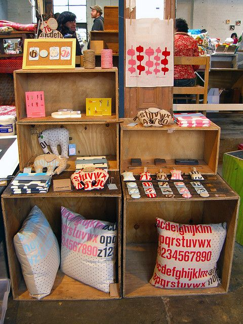 craft fair display or stall = wood boxes
