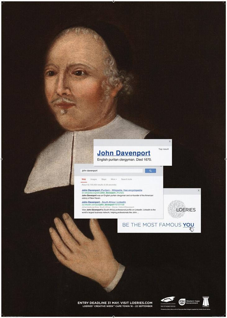 John Davenport, an English clergyman, loooong dead. And the SA version? Ireland Davenport of course.