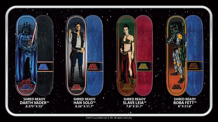 Santa Cruz Skateboards Star Wars Series decks and cruzers.