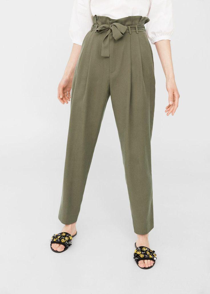 Pantalón tencel® cordón - Pantalones de Mujer | MANGO España