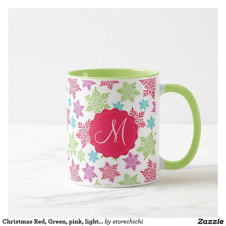 Christmas Red, Green, pink, light blue snowflakes Mug