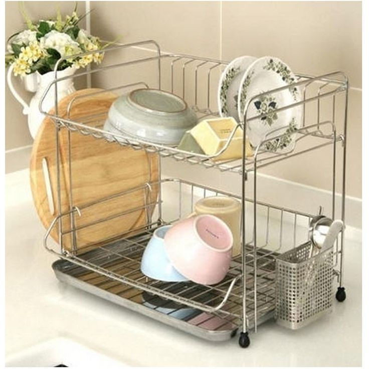 Stainless 2 Tier Dish Drying Rack Drainer Dryer Tray Cutting Board Storage NEW