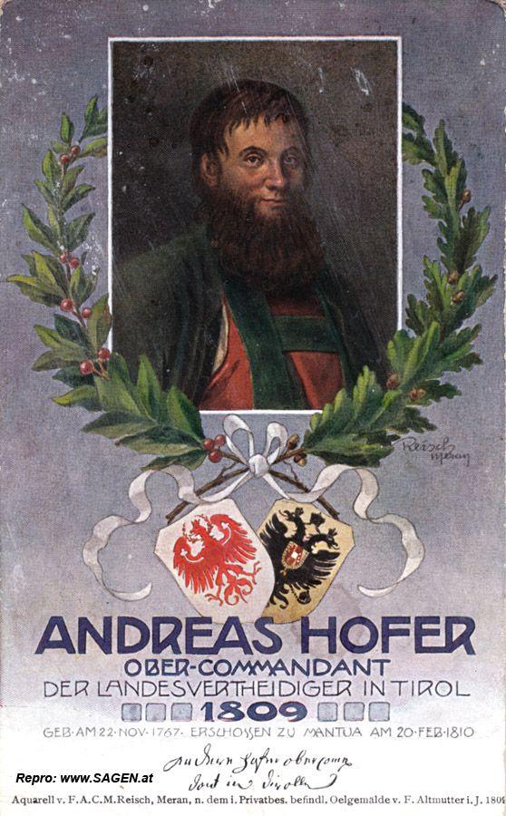 Andreas Hofer Ober-Commandant der Landesvertheidiger in Tirol 1809 © www.SAGEN.at
