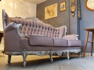 Sofa Ludwik Filip -Shabby Chic , tapicerka len.