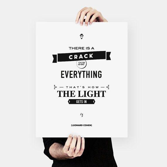 Leonard Cohen Quote literary art words of wisdom by MessProject, €18.00  #leonardcohen #typographyprint #motivationprint #inspirationprint #literaryart #inspirationprint #wallartdecor