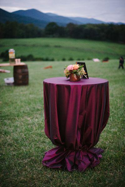 rich plum cocktail table linens | Jen Fariello #wedding