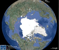 Google earth layers showing ice and sea examples of climate change