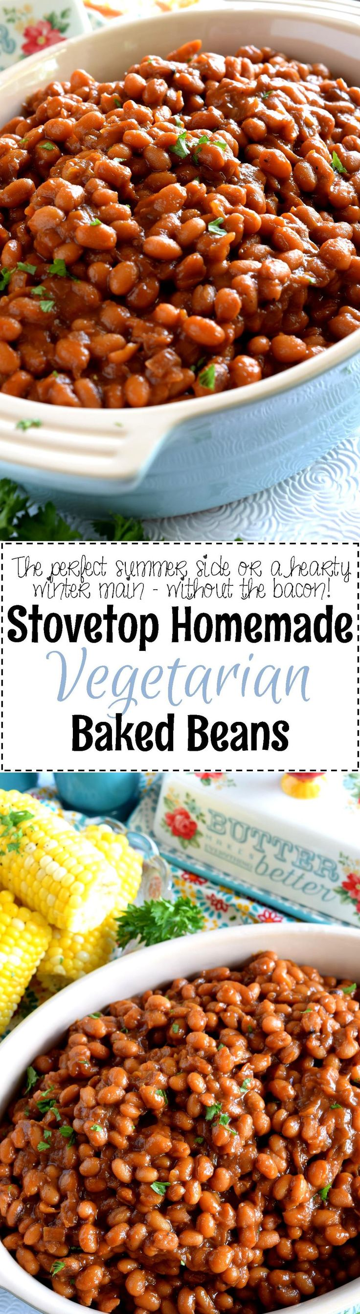 Stovetop Homemade Vegetarian Baked Beans - Who says Homemade Baked Beans needs to have bacon?  And who says they need to be baked?  Stovetop Homemade Vegetarian Baked Beans are fast, cheap, and easy – and nobody will notice the missing pork product!