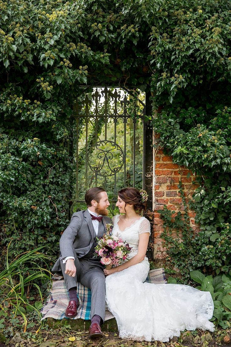 Bride & Groom Garden Portrait - Image by Katherine Ashdown - Blue By Enzoani Gown And Allure By Jimmy Choo Shoes For A Rustic Autumn Wedding At Leez Priory Essex With Bridesmaids In Pale Pink Ghost Dresses And Images From Katherine Ashdown