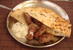 This is another national dish of Serbia, and it's a local favorite.  It is a grilled dish consisting of minced meat and served like a kebab.