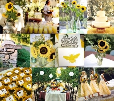 bright and colorful sunflower wedding decorationssunflower
