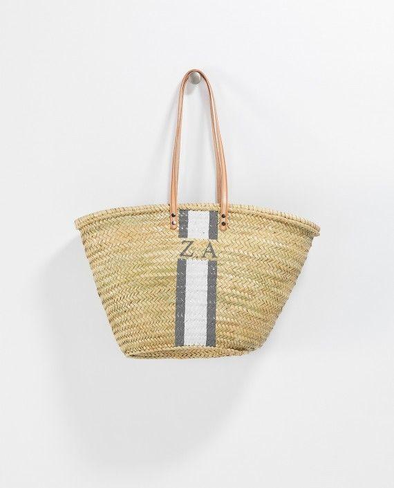 Monogram Long Leather Handle Basket - Rae Feather