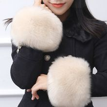 Sale Fur Cuff Warmer Womens Wristband Soft Fluffy Warm Luxury Accessories One Pair Fashion Decoration For Down Coat Jacket S4966(China)