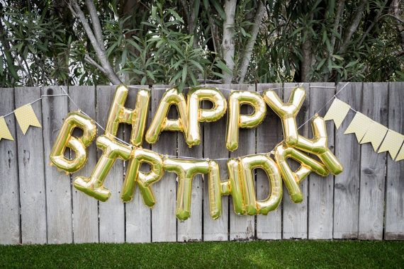 Add a gold Happy Birthday Balloon banner to your next event! This gorgeous 16 inch letter garland adds a special touch. Thirteen 16 inch gold balloons to spell out HAPPY BIRTHDAY; string included for easy hanging! AIR-FILL ONLY {no helium required!} Filling balloon with helium will not make this balloon float. A straw is included for easy inflation. The balloon has tabs on top and bottom for hanging, or you may stick balloons to wall or table for instant party decor! Designed and printed by…
