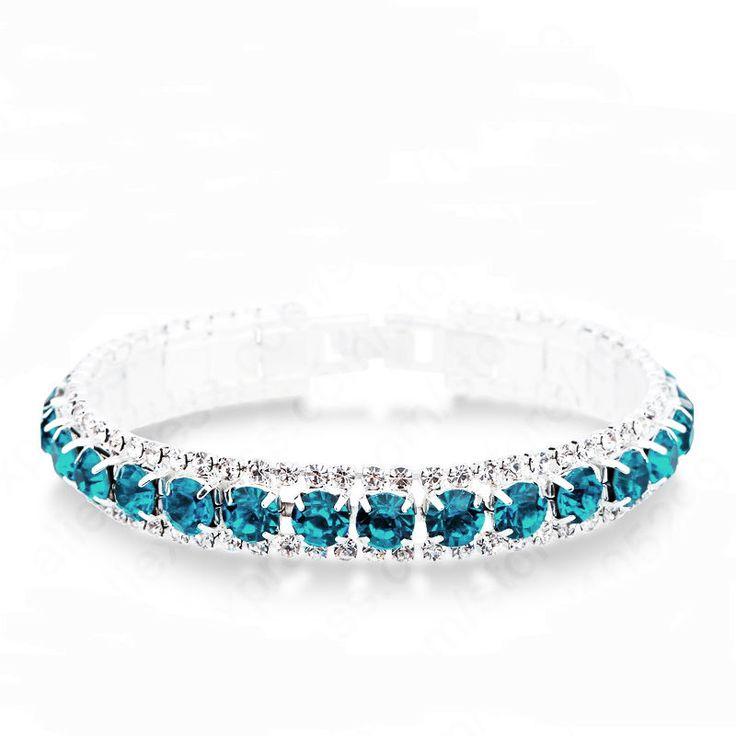 Blue Zircon Teal Crystal Rhinestone Line Bracelet (Sparkle-2669) #Unbranded…
