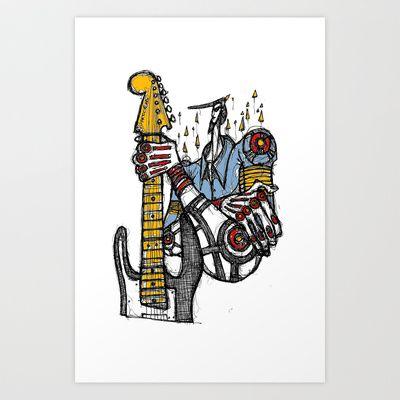 GuitarOne Art Print by Maccu Maccu - $14.56