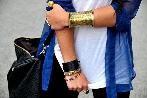 Gold bracelet: Colors Combos, Arm Candy, Blue Gold, Gold Cuffs, Arm Cuffs, Cobalt Blue, Royals Blue, Blue Shirts, Style Fashion