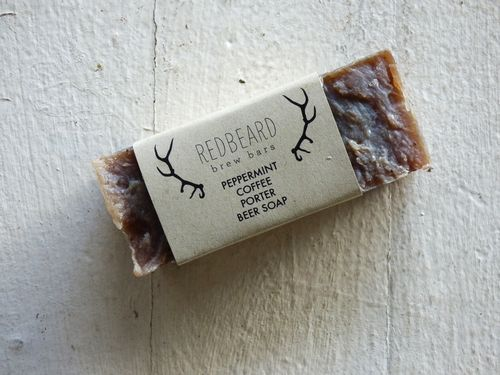 Redbeard Post Exchange features lots of delicious smelling beer soaps, including this Peppermint Coffee Porter Brew bar.  Yum!