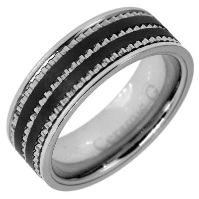 Men's 7.5mm Stainless Steel and Black Ceramic Wedding Band
