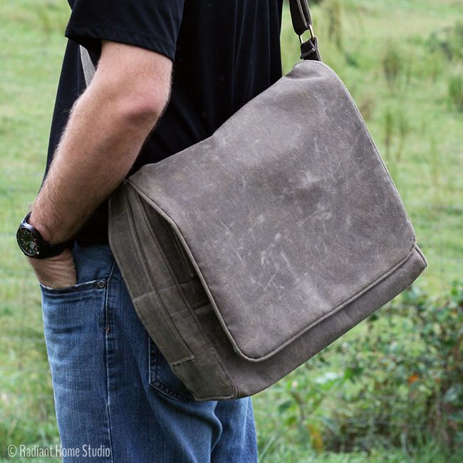 Learn How to Make Your Own Waxed Canvas Fabric for Bag Making | Men's Waxed Canvas Messenger Bag | Radiant Home Studio