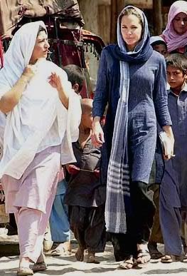 Angelina Jolie 2005 visits Abbotabad Earthquake , Pakistan