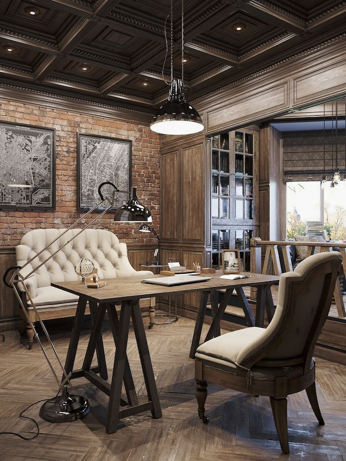 Earthy Rustic Home Office Design Incorporating Lots Of Timber