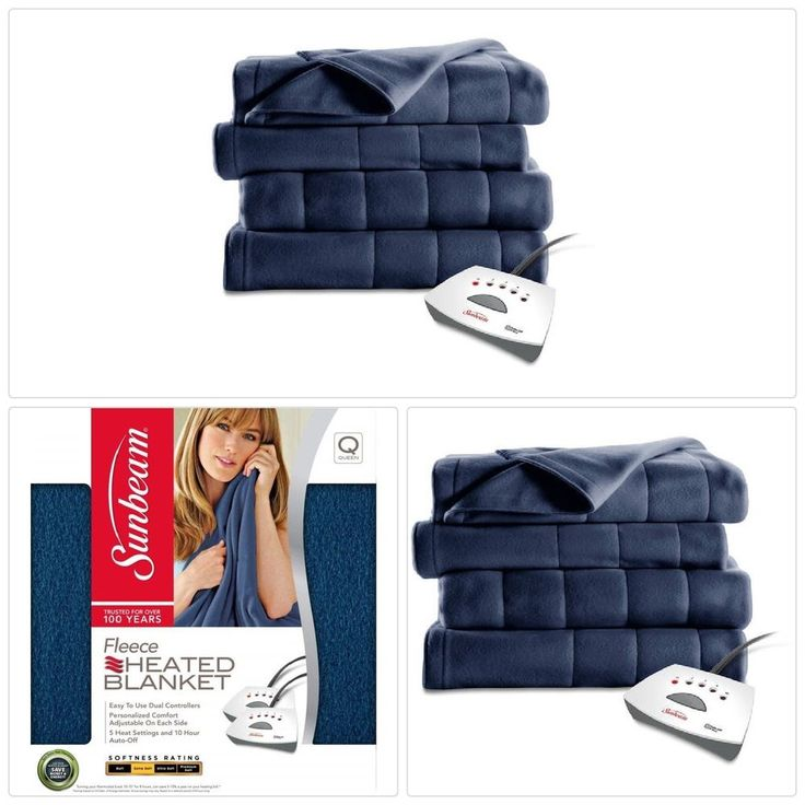 #Warm #Electric Heated #Quilted #Fleece #Blanket Blue with Pro Controller Queen Size