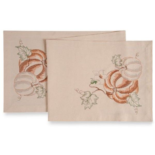 C&F  Vintage Pumpkins Table Runner ($11) ❤ liked on Polyvore featuring home, kitchen & dining, table linens, multi, holiday table runners, holiday table linens, cotton table runners, vintage table runner and vintage table linens