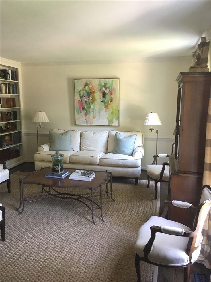 Formal living room art over sofa