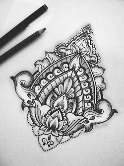 drawing art cute Black and White painting tattoo flower watercolor floral myart marker pen sharpie geometric tattoo design lotus feminine mandala symmetry Dotwork pointillism dotworktattoo