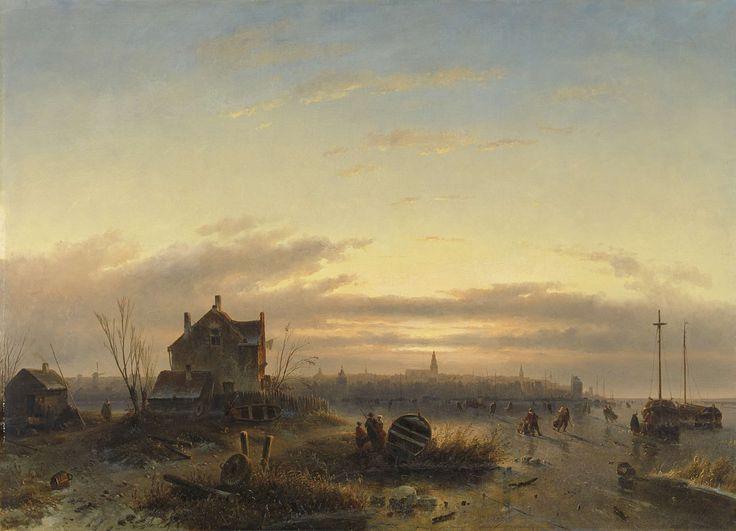 Winter op het IJ voor Amsterdam, Charles Leickert, 1850