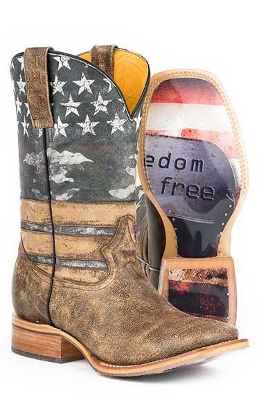 "Tin Haul Men's ""Freedom Dog Tags"" Square Toe Boot"
