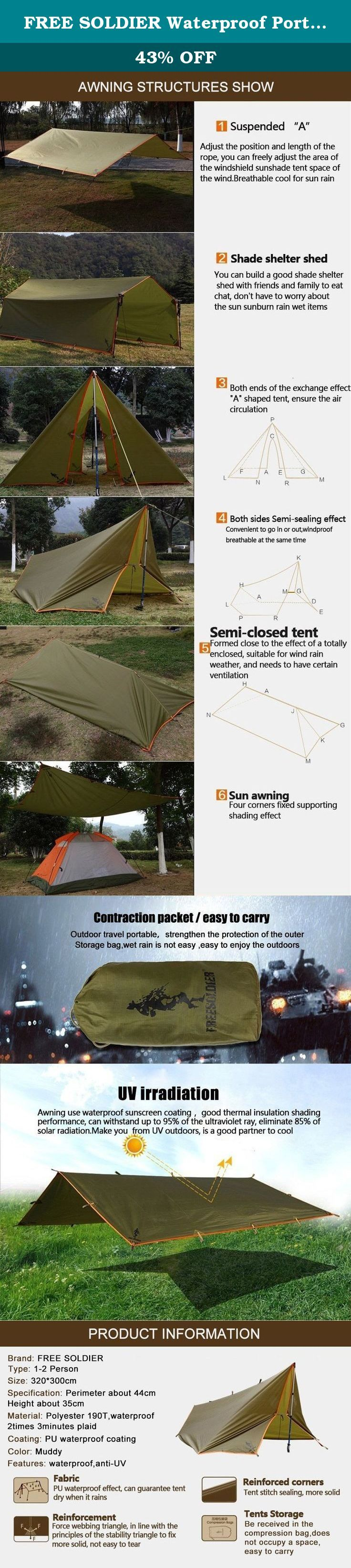 FREE SOLDIER Waterproof Portable Tarp Multifunctional Outdoor Camping Traveling Awning (Brown). FREE SOLDIER camping awning with 100% Quality Guaranteed! This tent inquires the owner to have some manipulative ability and imagination, building a tent needs time and hard work, if you enjoy turning things from side to side, this tent will be very suitable for you. Introduction: Material: Polyester 190T checked fabric with waterproof PU coating Color: Mud color Type: 1-2 person Feature:...