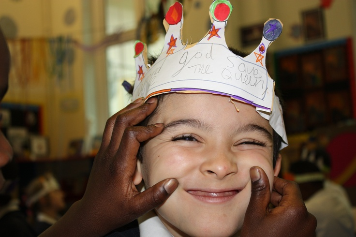 Seven year old Tyrese made this crown yesterday. He said he would ask the Queen how many dogs she has. The Queen actually has 5 dogs. She also owns a lot of race horses, and used to ride herself. — at St Matthews CoE Primary School, Westminister .
