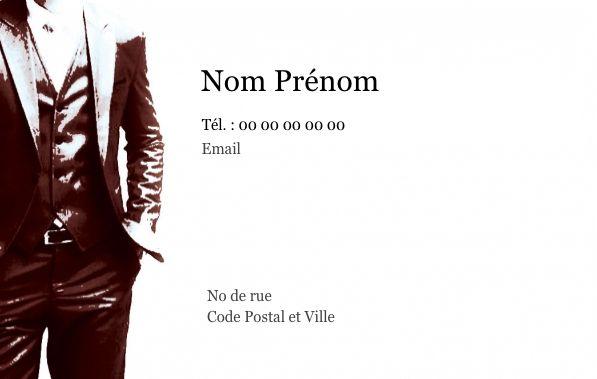 Carte de visite pour les hommes, créez gratuitement à partir de modèle en ligne votre Carte de visite Carte de visite personnelle homme, costume
